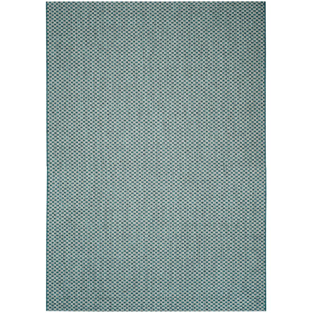 Safavieh Himalaya Turquoise 4 Ft X 4 Ft Round Area Rug: Safavieh Courtyard Turquoise/Light Gray 4 Ft. X 6 Ft