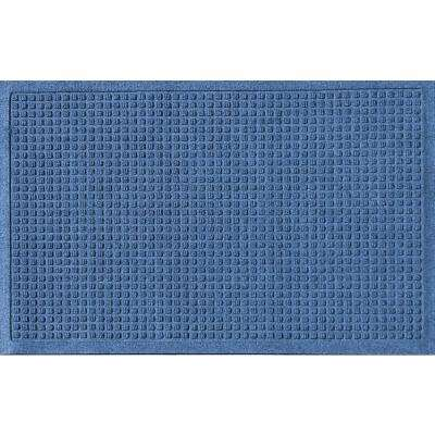 Navy 24 in. x 36 in. Squares Polypropylene Door Mat