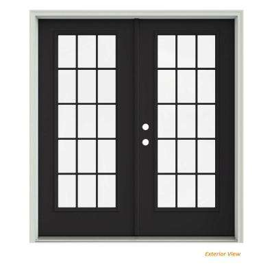 72 in. x 80 in. Chestnut Bronze Painted Steel Right-Hand Inswing 15 Lite Glass Stationary/Active Patio Door