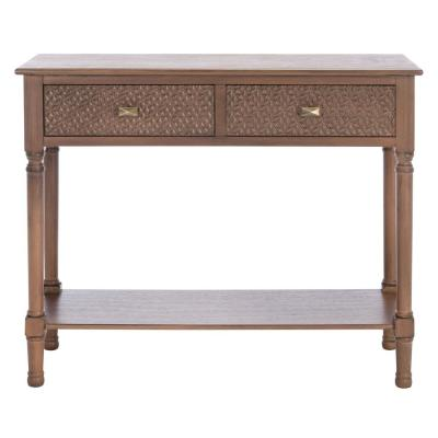Halton 35.5 in. Brown 2-Drawer Console Table