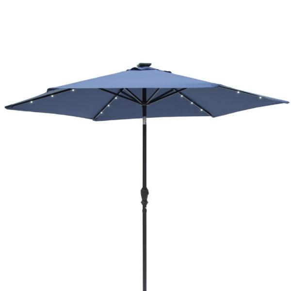 Sun-Ray 9 ft. Round 6-Rib Steel Solar Lighted Market Umbrella- Navy Blue