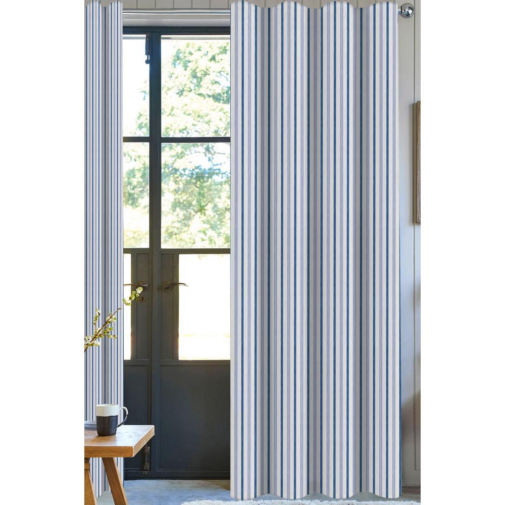 Bryson Stripe Light Filtering Drapery Panel in Blue/Grey - 50 in. x 96 in.