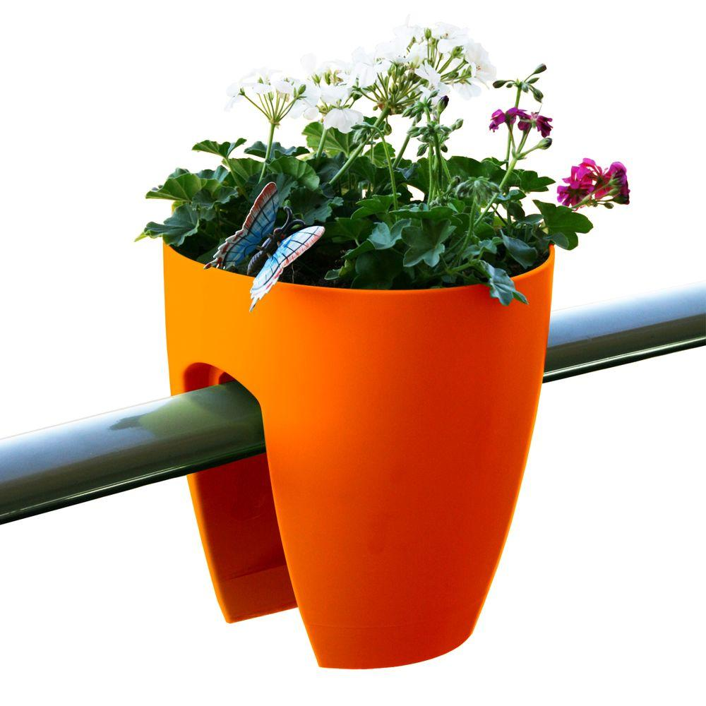 Greenbo 11.4 in. x 11.8 in. x 11.4 in. Orange Plastic Railing and Deck Planter (2 pack)