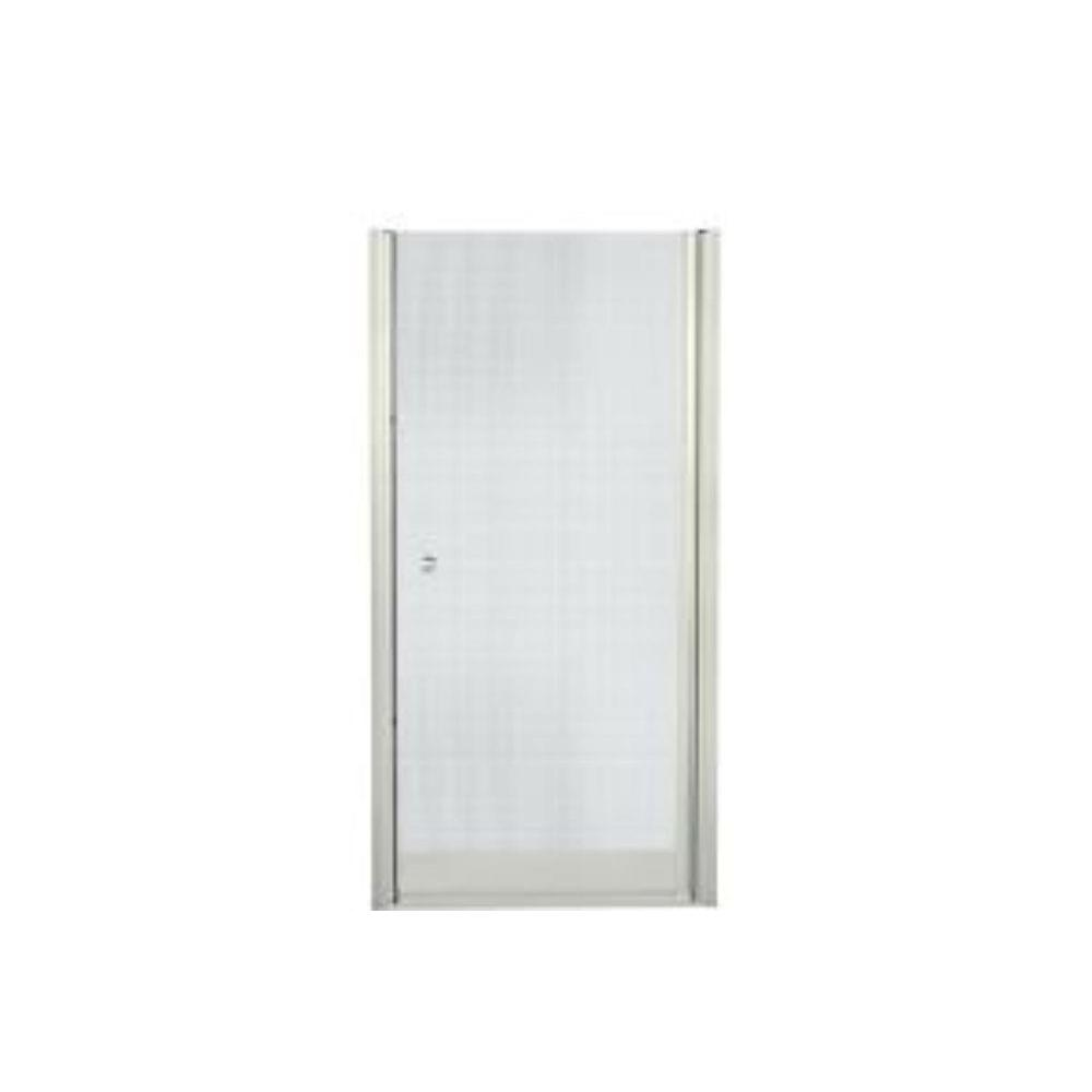 STERLING Finesse 35-1/4 in. x 65-1/2 in. Semi-Frameless Pivot Shower Door in Nickel with Handle
