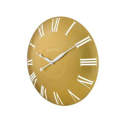 24 in. H x 24 in. W Curved Gold Tone All Metal Case Round Wall Clock