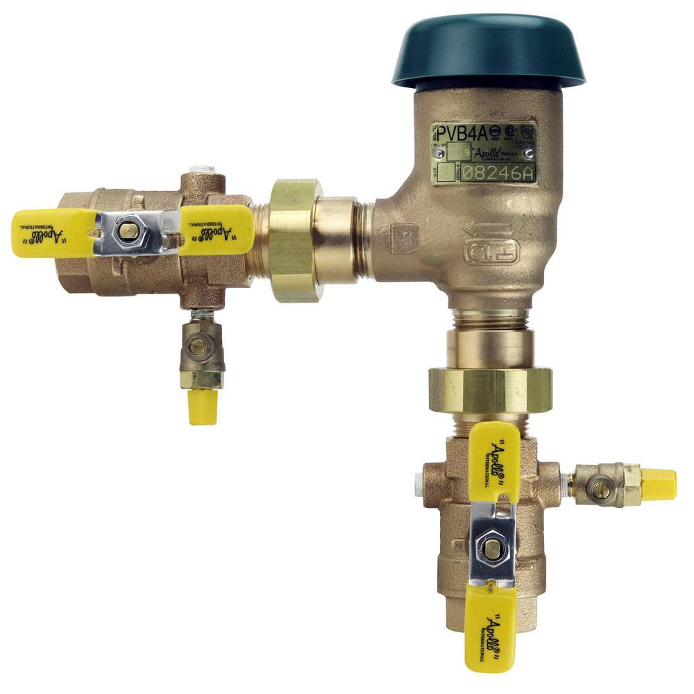 1 in. Bronze FIP Pressure Vacuum Breaker with Union Shut-Off Valves