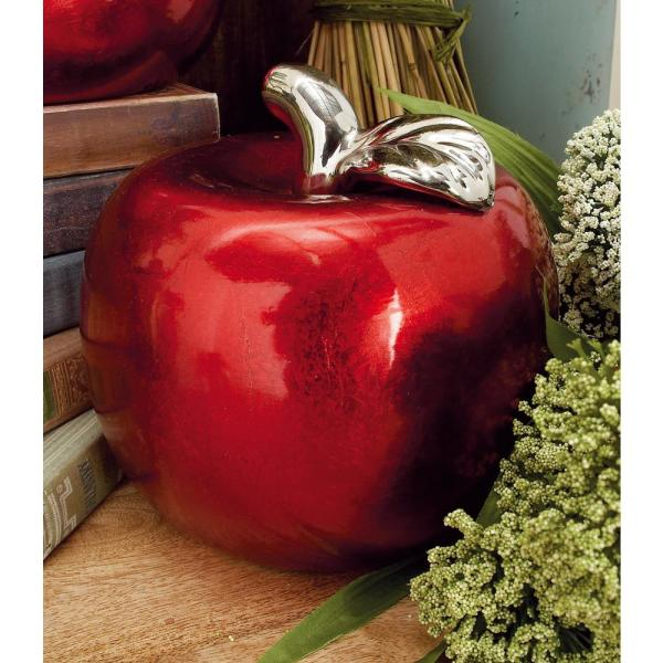 Litton Lane 7 In X 9 In Red And Silver Ceramic Fruit Decor Sculptures Set Of 2 59713 The Home Depot