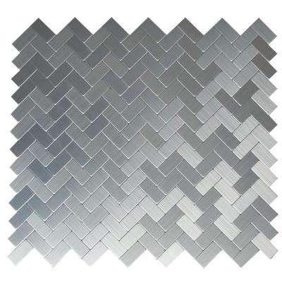 Earl Grey Stainless Steel 12.09 in. x 11.65 in. x 5mm Brushed Metal Self Adhesive Wall Mosaic Tile