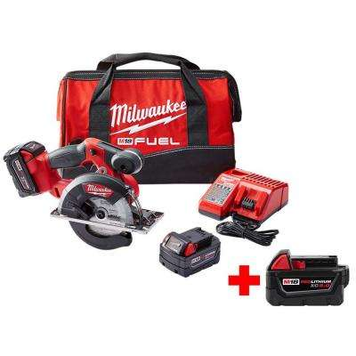 M18 FUEL 18-Volt Lithium-Ion Brushless Cordless 5-3/8 in. Circular Saw Kit w/ Free M18 5.0Ah Battery