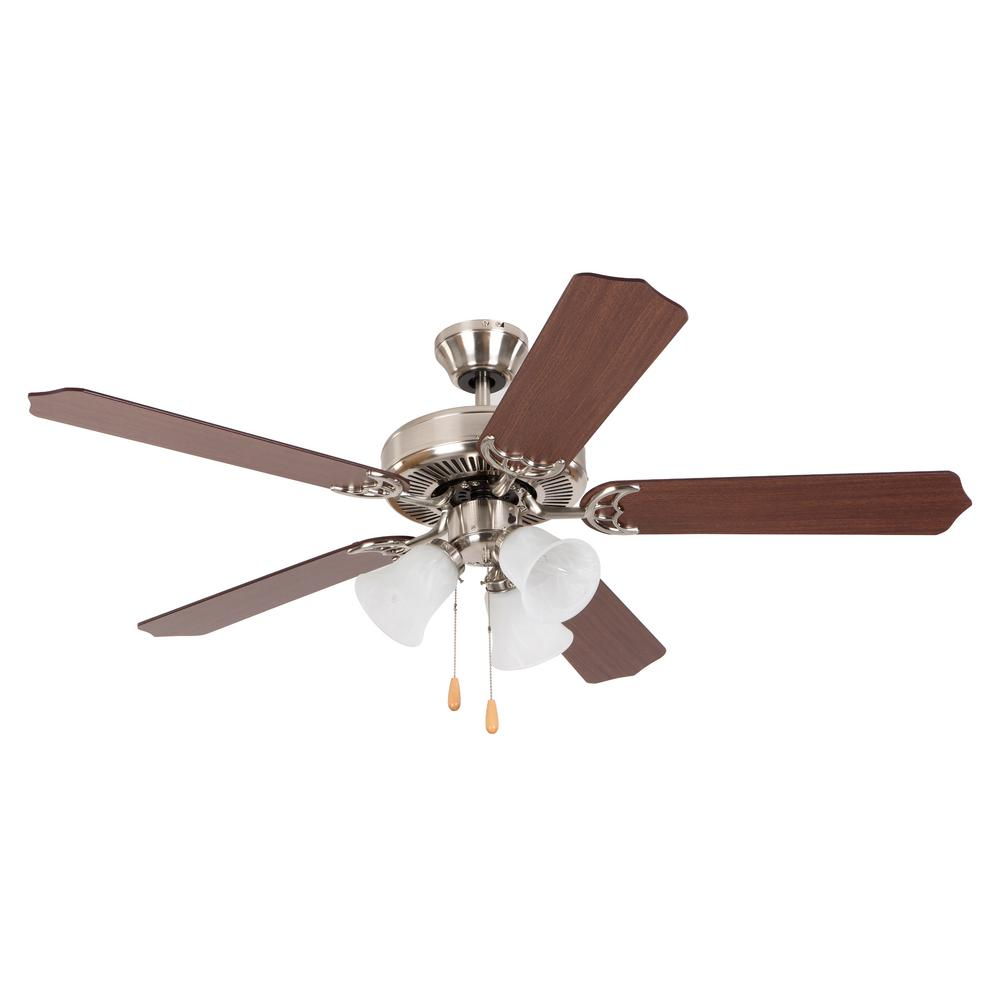 Yosemite Home Decor Westfield 52 In Indoor Bright Brush Nickel Ceiling Fan Westfield Bbn 3