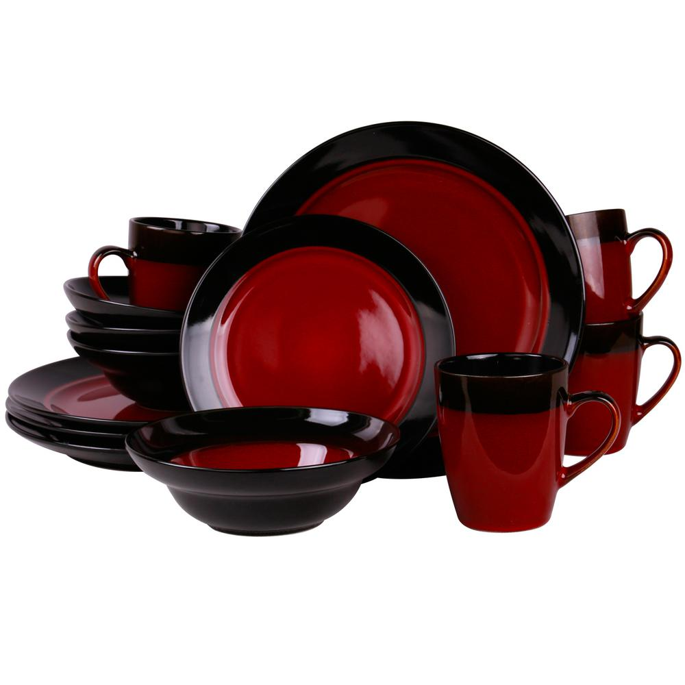 665842a7bc08a Tanizia 16-Piece Red and Black Dinnerware Set-985106203M - The Home ...