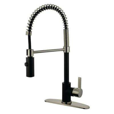 Contemporary Single-Handle Pull-Down Sprayer Kitchen Faucet in Black and Satin Nickel
