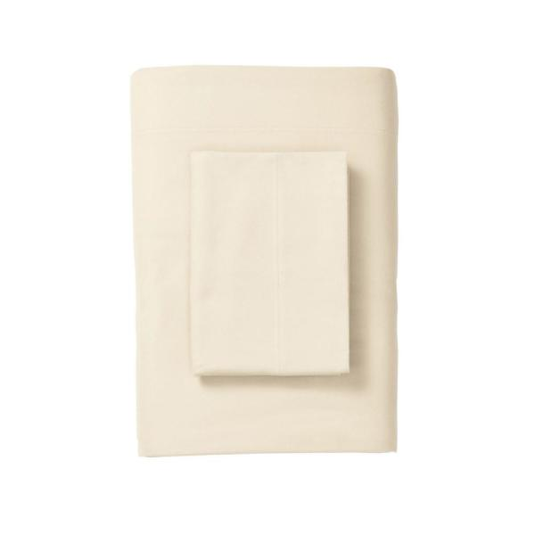The Company Store Legacy Velvet Flannel Cream Solid Twin Flat Sheet