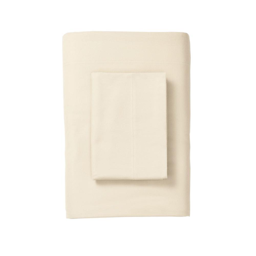 The Company Store Legacy Cream Velvet Flannel California King Flat Sheet