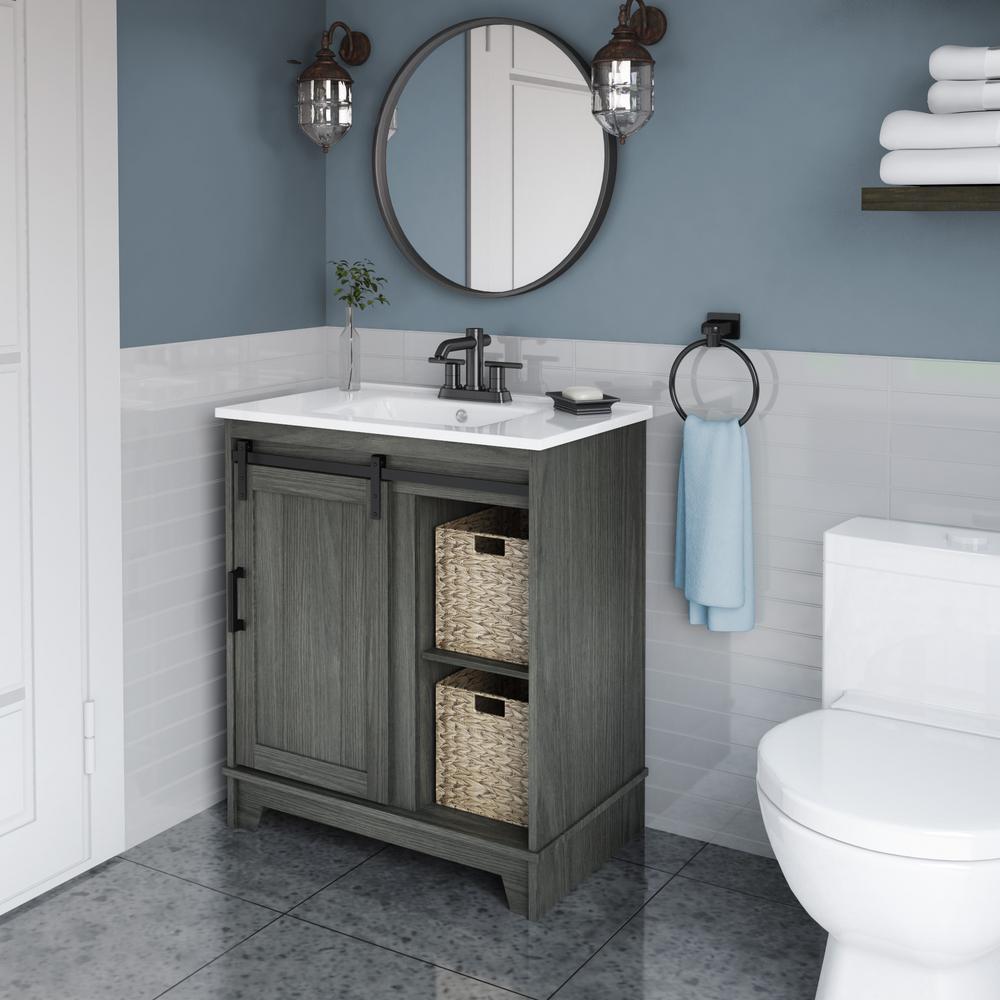 Twin Star 30 In D X 18 In W X 34 In Barn Door Bath Vanity In Geneva Oak W Vanity Top In White And White Basin 30bv34004 Po130 The Home Depot