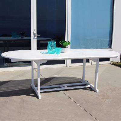 Bradley White Acacia Oval Extension Patio Dining Table