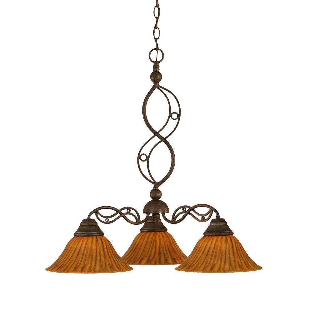 Concord Series 3-Light Bronze Chandelier with Tiger Glass Shade