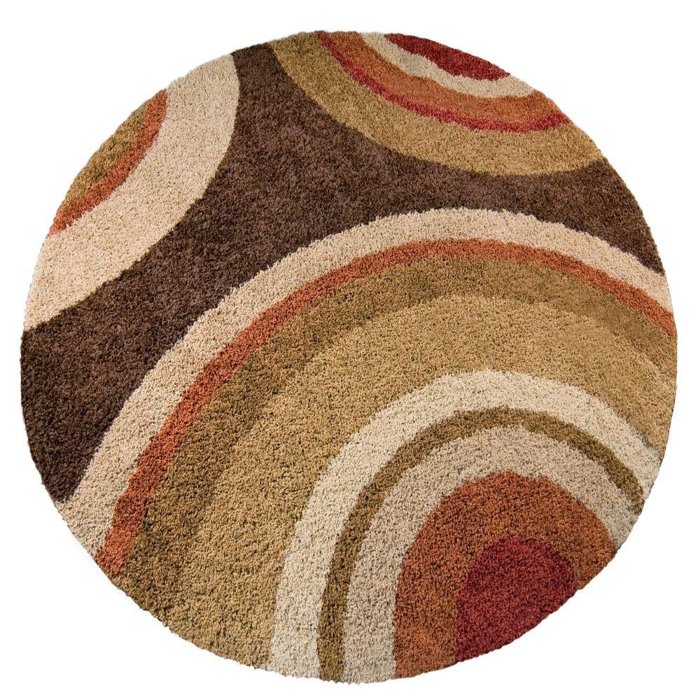 Orian Rugs Eclipse Brown 8 Ft Round Area Rug 238624 The