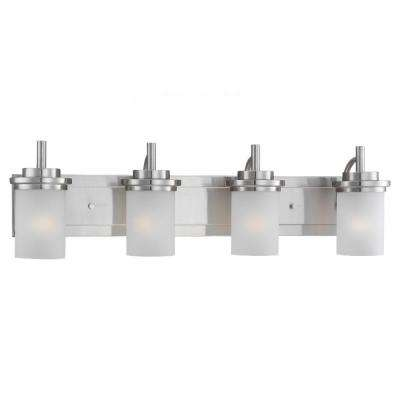 Winnetka 32 in. W 4-Light Brushed Nickel Vanity Light with Satin Etched Glass