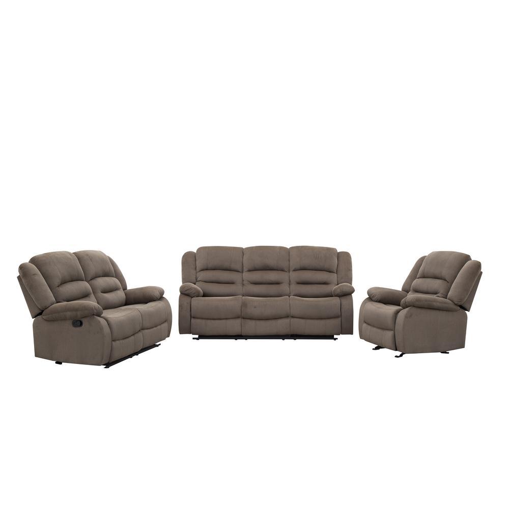 Ellis Contemporary Microfiber 3-Piece Living Room Set, Light Brown