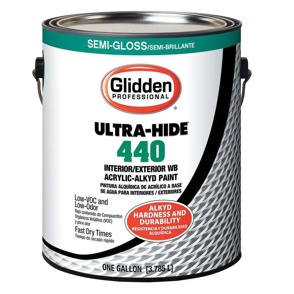 Glidden Ultra Hide 1 Qt Ultra Hide 440 Semi Gloss White Tint Base Interior And Exterior Paint