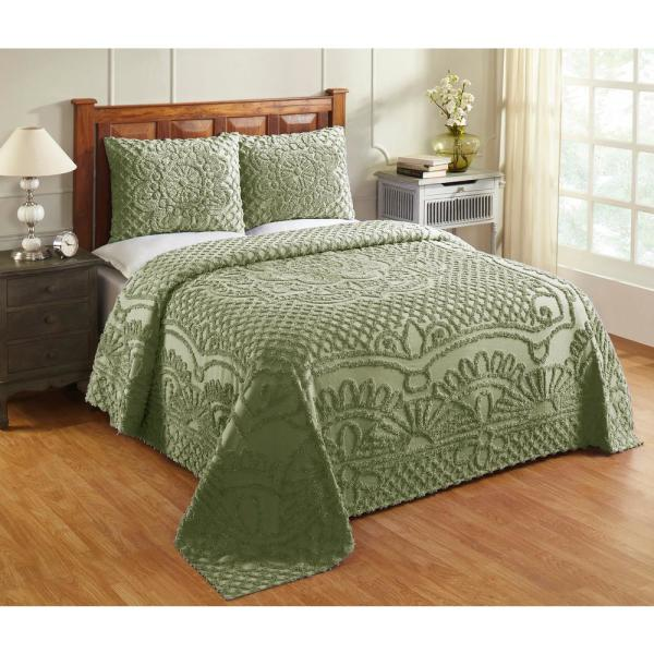 Trevor Collection in Geometric Design Sage King 100% Cotton Tufted Chenille Bedspread Set