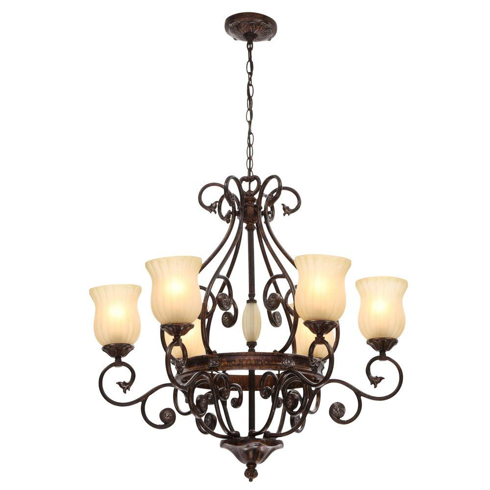 Hampton Bay Freemont Collection 6-Light Hanging Antique Bronze Chandelier  with Glass Shades - Hampton Bay Freemont Collection 6-Light Hanging Antique Bronze