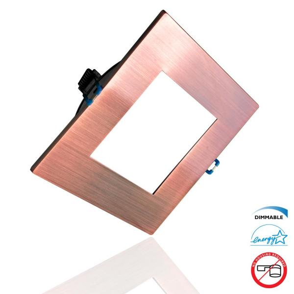 DLE Series 6 in. Square 3000K Aged Copper Integrated LED Recessed Canless Downlight with Trim