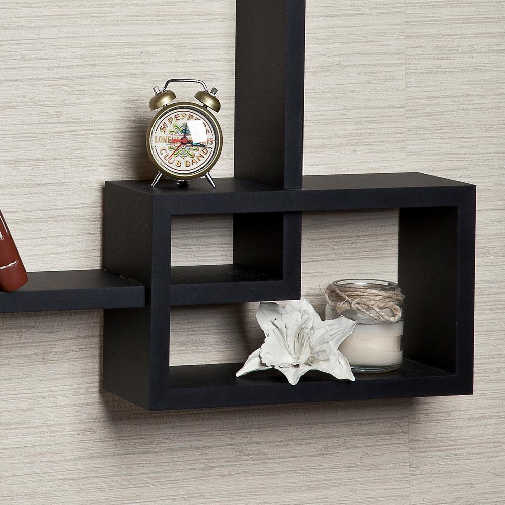 Intersecting Cubes Black Color Wall Shelf YU008BK