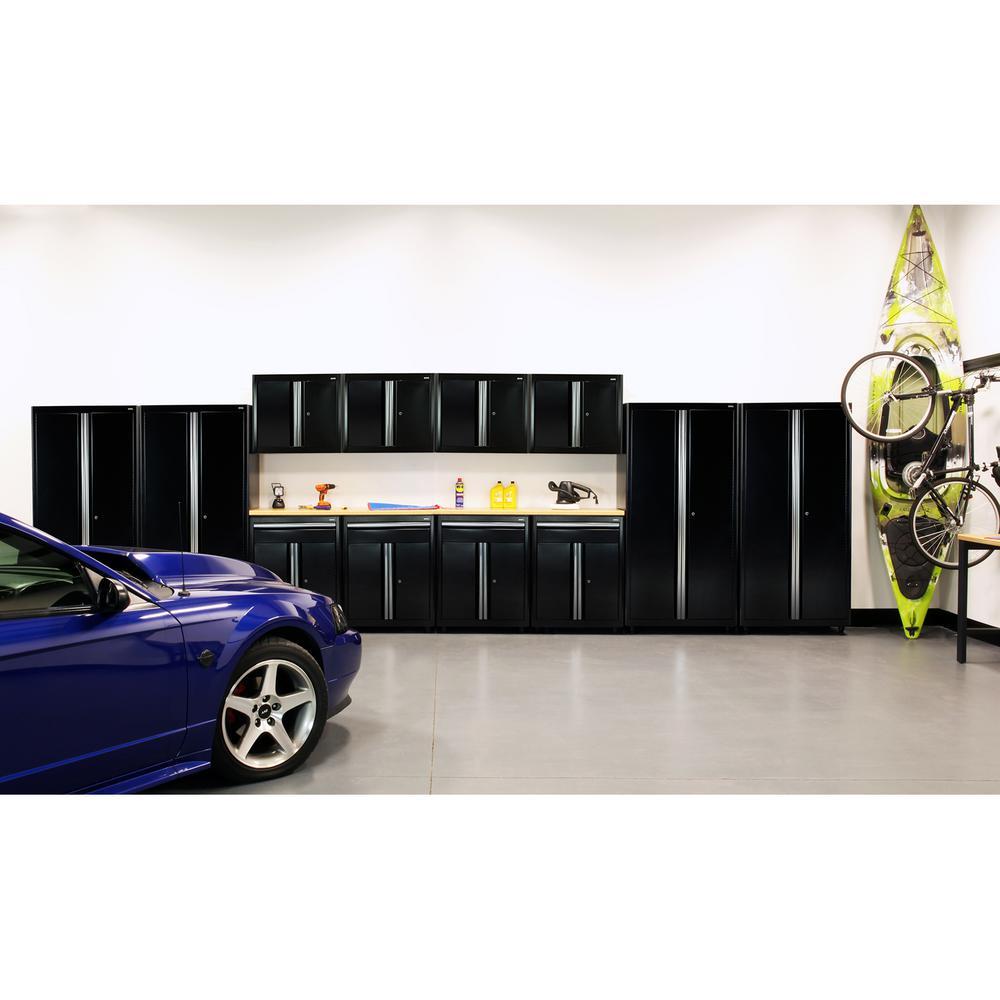 75 in. H x 264 in. W x 18 in. D Welded Steel Garage Cabinet Set in Black (14-Piece)