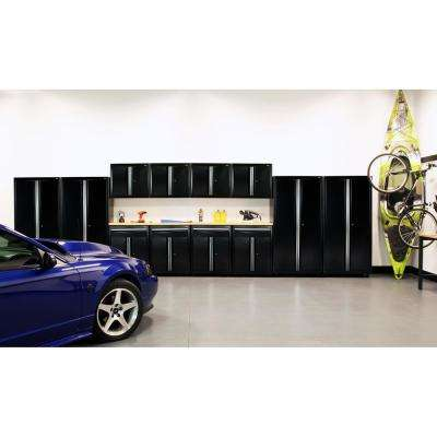 75 in. H x 264 in. W x 18 in. D Welded Steel Garage Cabinet Set in Black (14-Piece)