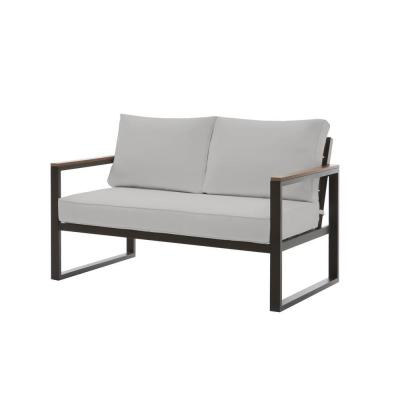 West Park Black Aluminum Outdoor Patio Loveseat with CushionGuard Stone Gray Cushions
