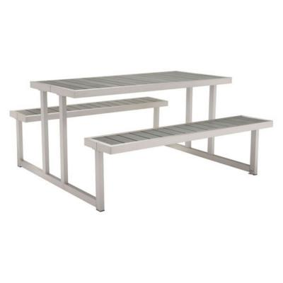 Julia 29.5 in. Brushed Aluminum Wood End Table