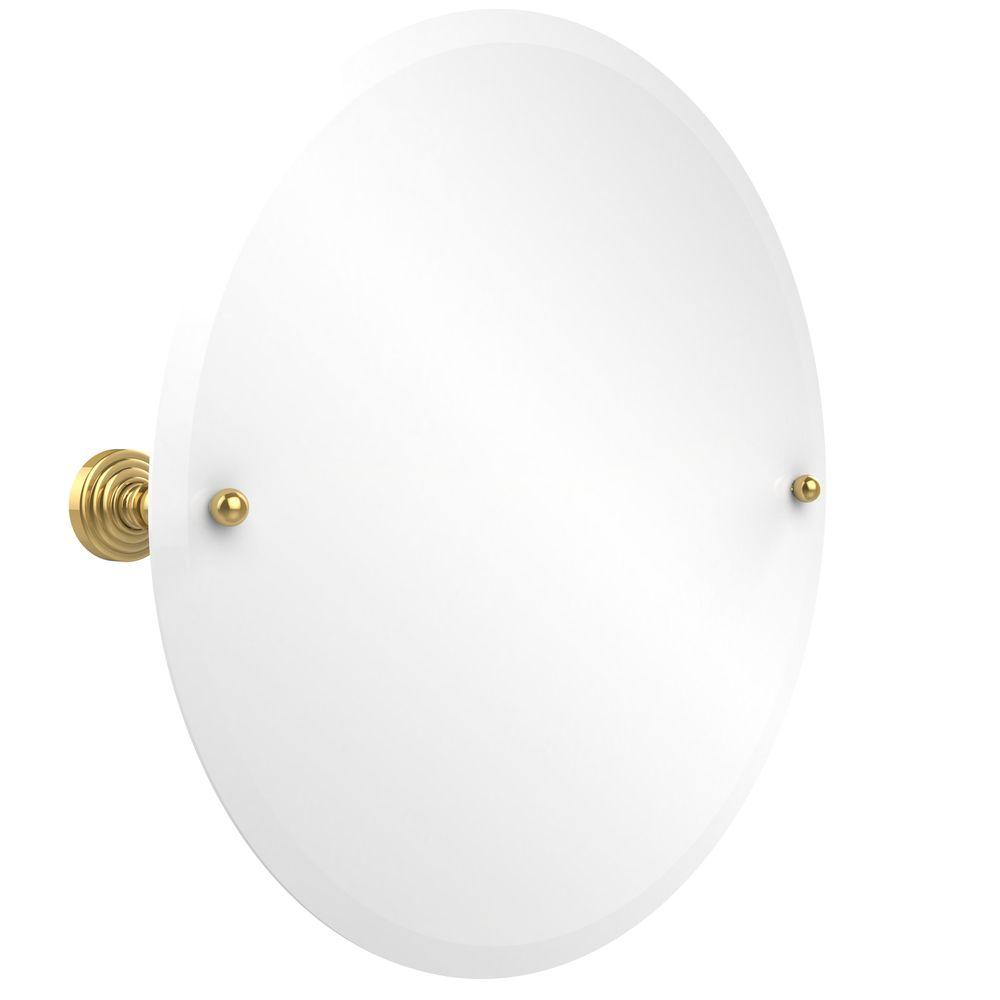 Allied Brass Waverly Place Collection 22 in. x 22 in. Frameless Round Single Tilt Mirror with Beveled Edge in Polished Brass