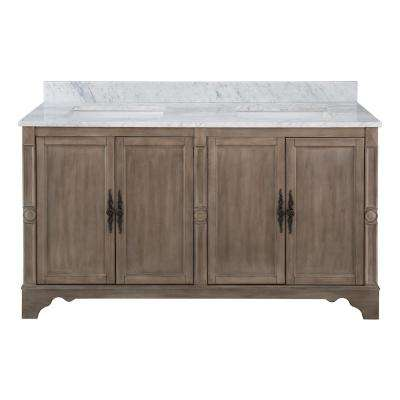 Astoria Park 61 in. W x 22 in. D Vanity in Antique Ash with Marble Vanity Top in Carrara with White Sinks