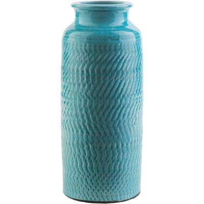 Rismi 13.98 in. Blue Ceramic Decorative Vase