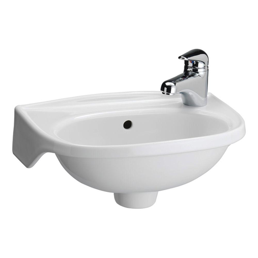 null Tina Wall Mounted Bathroom Sink in White. Tina Wall Mounted Bathroom Sink in White 4 551WH   The Home Depot
