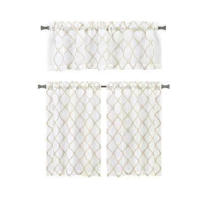 Devyn Taupe Kitchen Curtain Set - 56 in. W x 15 in. L in (3-Piece)