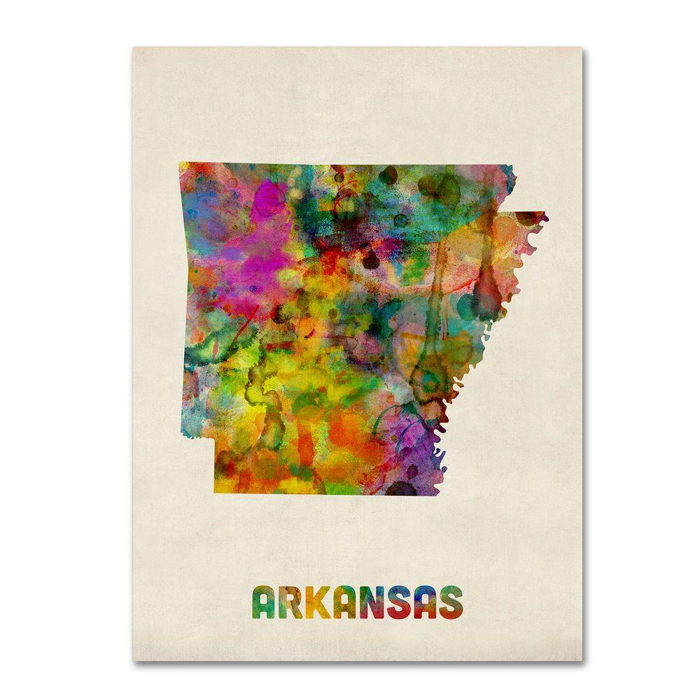 Trademark Fine Art 24 in. x 32 in. Arkansas Map Canvas Art
