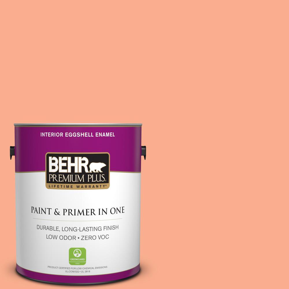 BEHR Premium Plus 1-gal. #220B-4 Orange Grove Zero VOC Eggshell Enamel Interior Paint