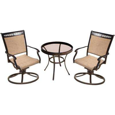 Fontana 3-Piece Aluminum Outdoor Bistro Set with Round Glass-Top Table with Swivel Chairs