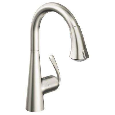 Ladylux 3 Cafe Single-Handle Pull-Down Sprayer Kitchen Faucet in Stainless Steel
