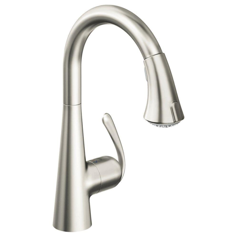 Grohe Ladylux 3 Cafe Single Handle Pull Down Sprayer Kitchen Faucet In Stainless Steel 32298dce The Home Depot