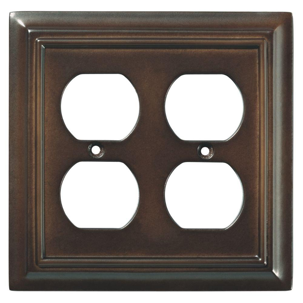 Liberty Architectural Wood Decorative Double Duplex Outlet Cover, Espresso