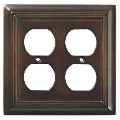 Architectural Wood Decorative Double Duplex Outlet Cover, Espresso