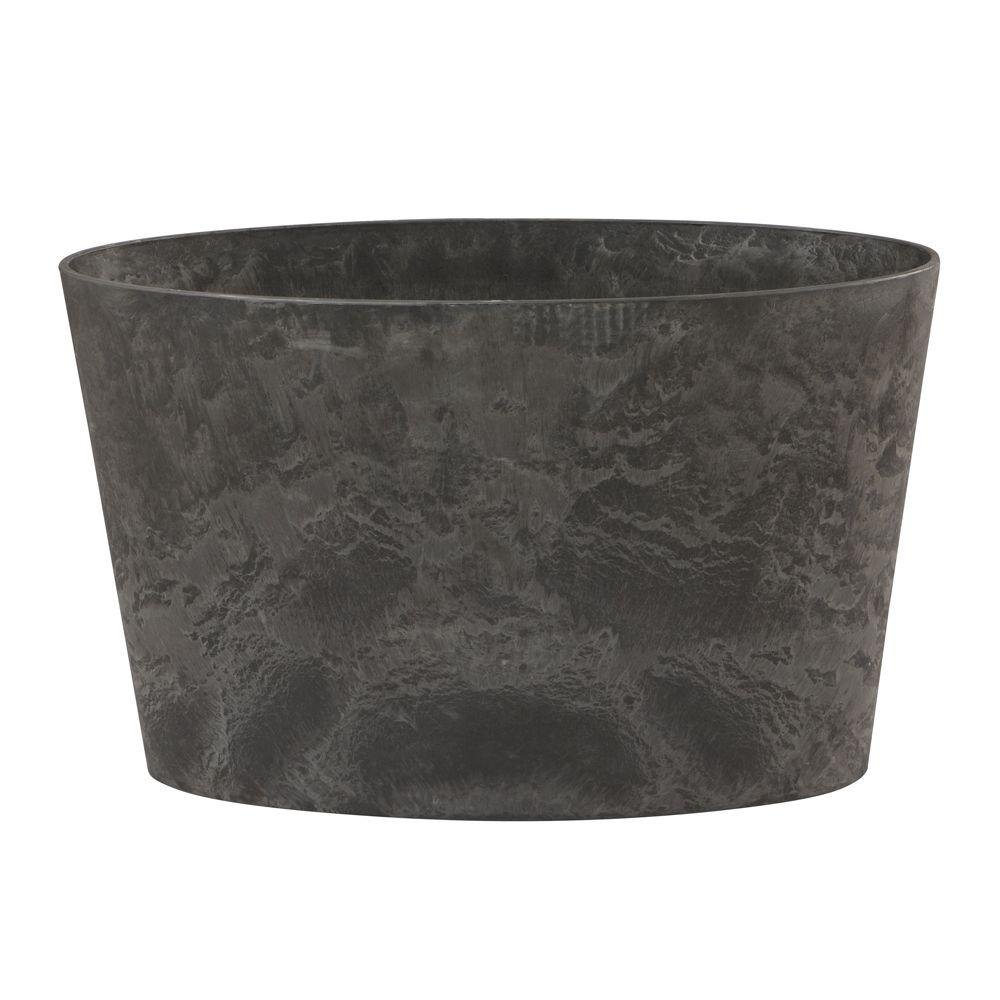 Home Decorators Collection Napa 26 in. x 11 in. Oval Black Resin Planter