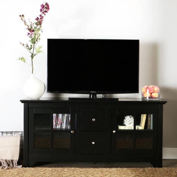 Walker Edison Furniture Company Becket Matte Black Entertainment Center W52C2DWBL