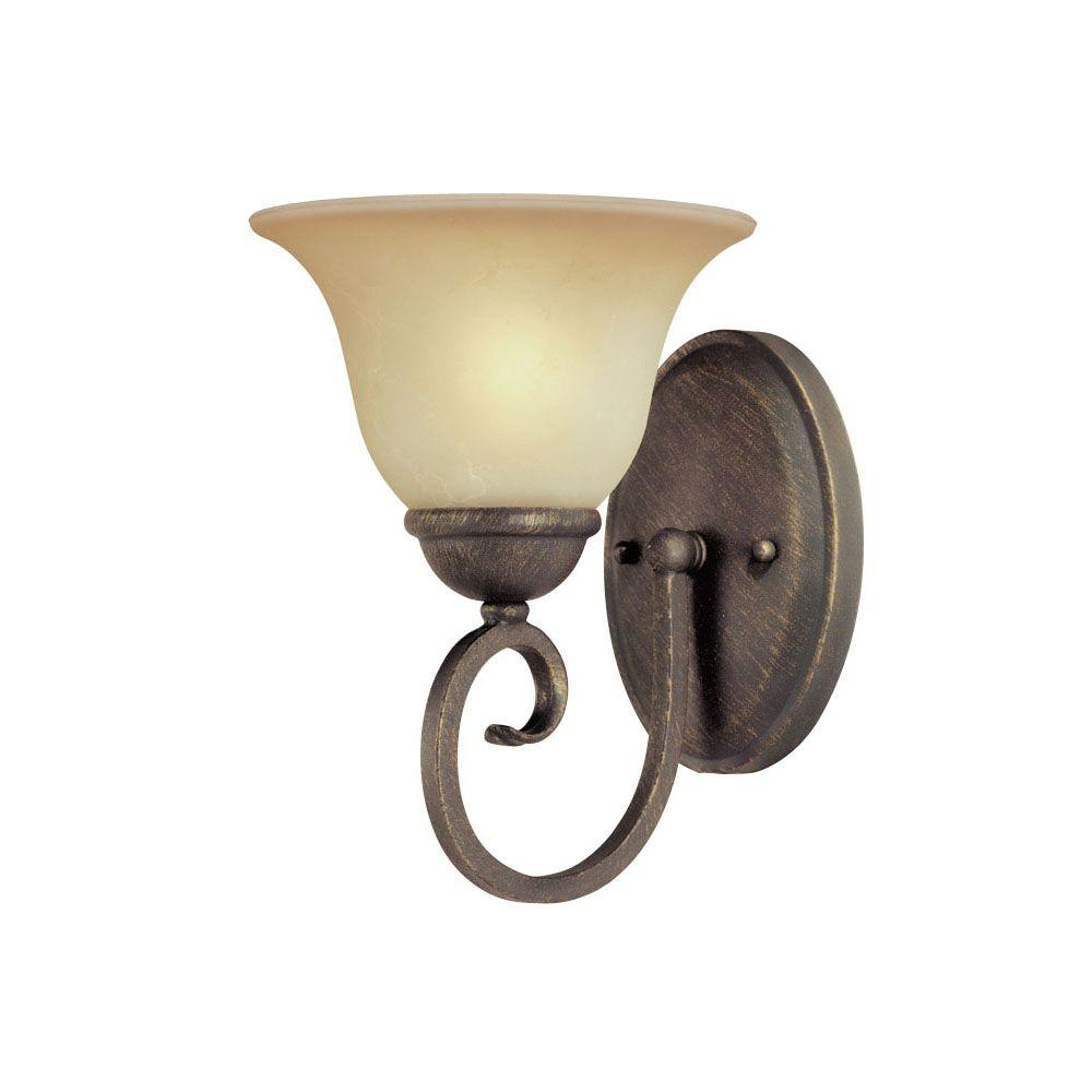 1-Light Ebony Bronze Interior Wall Fixture with Aged Alabaster Glass