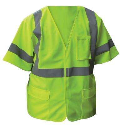 Size Extra-Large Lime ANSI Class 2 Solid Poly Safety Vest with 2 in. Silver Striping