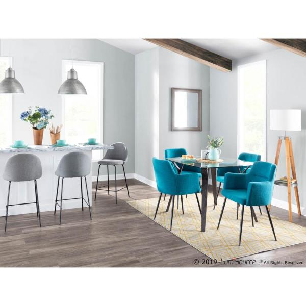 Lumisource Andrew Contemporary Teal Dining Accent Chair Set Of 2 Ch Andrw Bk Tl2 The Home Depot